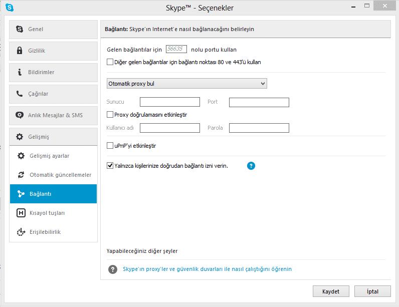 Skype güvenli hale getirmek