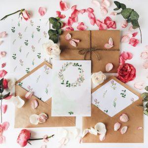 çiçekli düğün davetiyesi